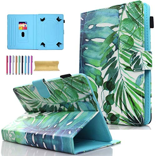 Universal 7.0' Tablet Case, AMOTIE Wallet Stand Cover w/Credit Card Slots for Samsung Galaxy Tab E 7.0/ Tab A 7.0/ Fire 7.0 2015 2017/ Lenovo/RCA and More 6.5-7.5 inch Tablet, Green Leaf