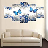 XITANG 5 Panel Canvas Painting Poster Wall Picture For Living Room Wall Art Blue Butterfly Home Decor Modular Pictures