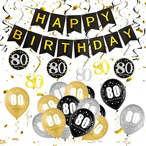 80 Oro Negro Plata Globos Cumpleaños Decoracione, 80 Años de Antigüedad Fiesta de Cumpleaños Decoraciones, 80 Oro Negro Plata Globos Decoración Hombres y Mujeres, 80 Cumpleaños Adorno en Espiral