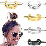 5 clips de pelo redondos para el pelo, de metal pulido, para moño, minimalista, vintage, para coleta, accesorios para el cabello para mujeres y niñas, color dorado, plateado y negro