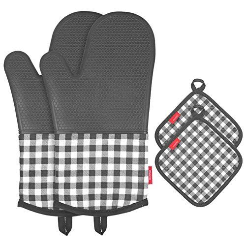 esonmus Ofenhandschuh Topfhandschuhe Hitzebeständige Silikon und Baumwolle 1 Paar und 2 Topflappen Grau
