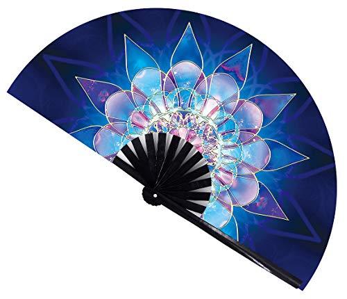 Amajiji Large Folding Fan, Chinease/Japanese Bamboo and Nylon-Cloth Folding Hand Fan, Hand Folding Fans for Women/Men, Hand Fan Festival Fan Gift Fan Folding Fan Dance Fan (Blue lower)