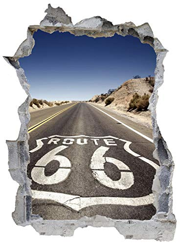Route 66 Highway USA Car Wandtattoo Wandsticker Wandaufkleber E0426 Größe 46 cm x 62 cm
