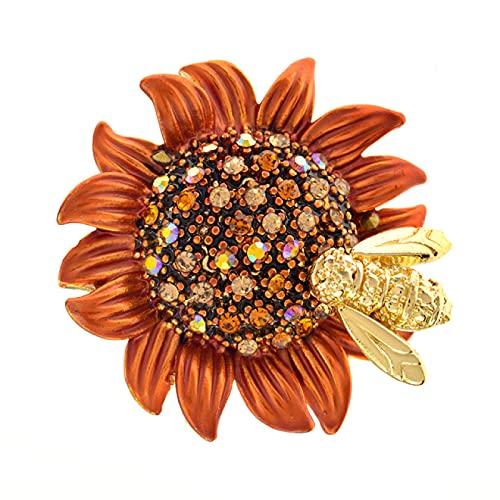 SHUJIA Girasol con broches de estambre de Diamantes de imitación para Mujeres y Hombres Margarita Flor Insecto Bee Pines Broche Accesorios de joyería