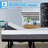 12' Split Cal King Cool Gel Infused Plush Memory Foam Mattress with Premium Adjustable Bed Frame Combo, Massage, USB, Zero Gravity,Anti-Snore, Nightlight (Cal King Split)