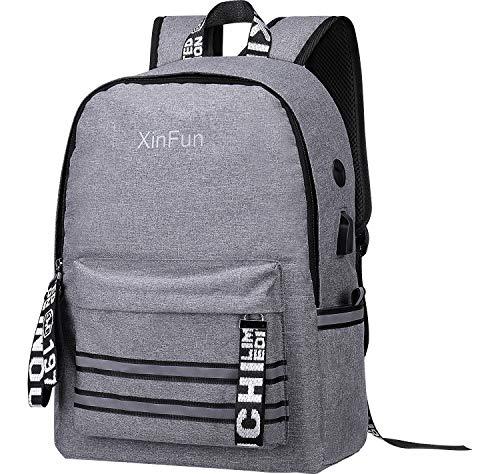 Wasserdichter Laptop Rucksack für Herren, XinFun Schulrucksack mit USB-Anschluss für 12-15,6 Zoll mit reflektierendem Aufkleber-Rucksack Atmungsaktiver Freizeitrucksack für Damen Jungen und Mädchen