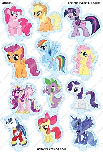 Toppershack 12 x decoración para pasteles comestibles PRECORTADAS de My little Pony