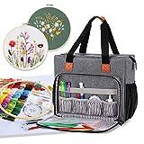 Luxja Bolsa para Kit de Inicio de Bordado, Bolsa de almacenamiento para Kit de Herramienta de Punto de Cruz y Otros Kits de Bordado (Solo bolsa), Gris