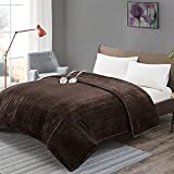 Degrees Of Comfort [Advanced] Dual Control Electric Blanket King Size W/ Auto Shut Off | Heated Throw for Bed & Living Room | Machine Washable | UL Certified and EMF Radiation Safe - Chocolate