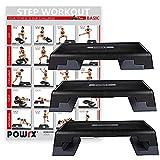 POWRX Profi Aerobic Steppbrett inkl. Workout I Stepper Stepbench Step I Maße: 89x34cm x Höhe bis...