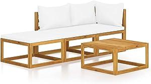 vidaXL Solid Acacia Wood Garden Lounge Set with Cushion 4 Pieces Outdoor Patio Balcony Backyard Terrace Furniture Seating Modular Sofa Cream