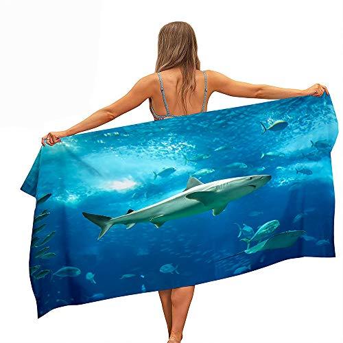Surwin Grande Toalla de Playa de Microfibra Toalla a Tiburón Impresión de Secado Rápido Natación Toalla de Arena Antiadherente para Playa, Piscina, Verano (Tiburón 11,80x180cm)