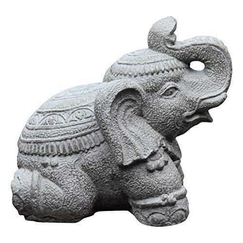 Ciffre Stein Elefant 30cm Hoch x 30cm Lang ca. 10 Kilo Antik Look Massiv Steinfigur Skulptur Feng Shui Garten Deko Wetterfest Lawa Steingus