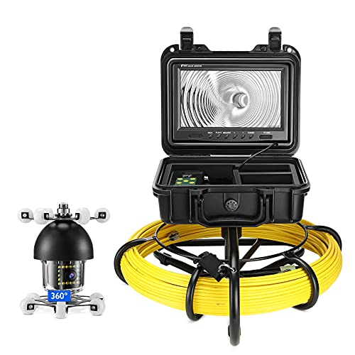Sewer Camera 150ft, Comstex Pipe Inspection Camera, Sewer Inspection Camera Upgraded 360° Camera w/ 18 IR Lights, 9 inch Screen with DVR, Sewer Drain Camera for Pipe Inspection Plumbing