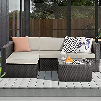 VITESSE Patio Furniture Sets All Weather Outdoor Sectional Sofa Manual Weaving Wicker Rattan Patio Conversation Set with Cushion and Glass Table (5 Pieces, Beige)