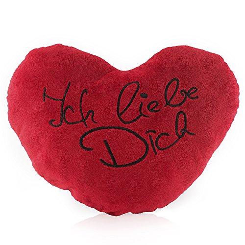 Lumaland I Love You - kussen hart knuffelkussen pluche kussen knuffelig zacht in rood zwart of wit bedrukt 30 cm