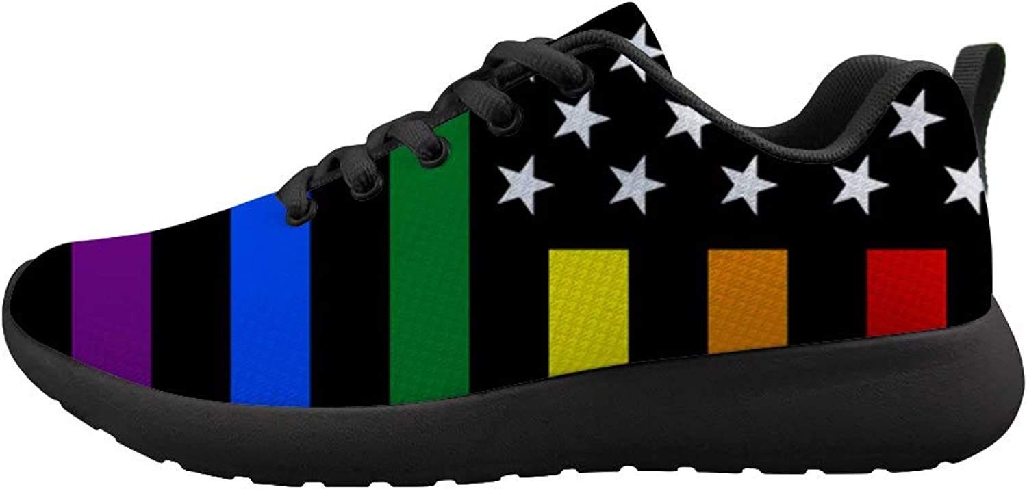 Owaheson Cushioning Sneaker Trail Running shoes Mens Womens Gay Proud Rainbow Flag