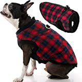 Gooby Fashion Dog Vest - Red Check, Large - Small Dog Sweater Bomber Dog Jacket Coat with D Ring Leash and Zipper Closure - Dog Clothes for Small Dogs Girl or Boy for Indoor and Outdoor Use