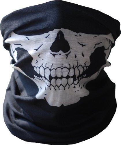 JUSTDOLIFE Cool Skeleton Skull Naadloze Bandana Buis Hals Gaiter Hoofddeksels (Zwart)