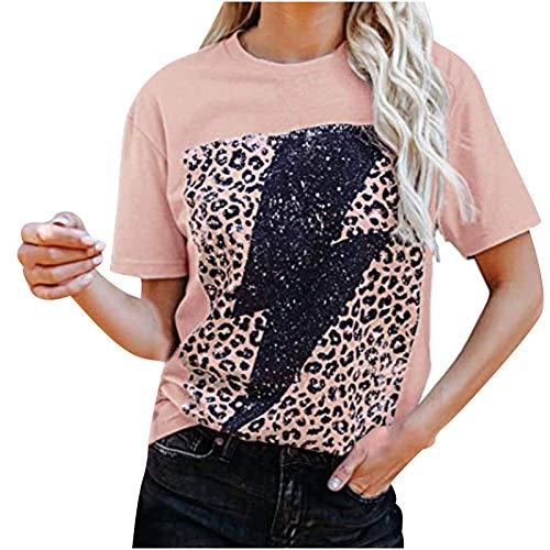 YANFANG Tops Camiseta para Mujer,Moda Casual Mujer Manga Corta Estampado de Leopardo O-Cuello, Blusa Algodón Suelto Tops Sudadera Pullover Elegante de San Valentín para niñas
