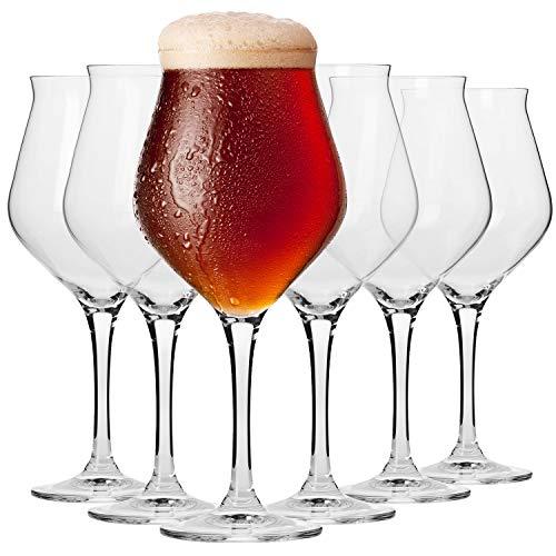Krosno Bicchieri Calici Birra Artigianale Tulipano Vetro | Set di 6 | 420 ML | Collezione Avant Garde | Perfetto per casa, ristoranti e Feste | Adatto alla Lavastoviglie e al Forno a Microonde