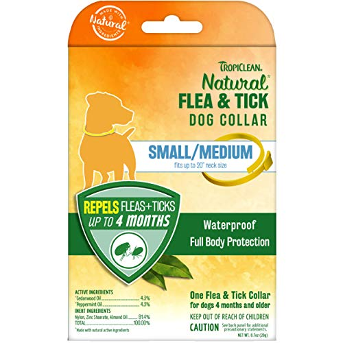 """TropiClean Natural Flea & Tick Repellent Collar for Small Dogs - Fits Up to 20"""" Neck Size – Waterproof – Repels Flea & Ticks Up to 4 Months – Natural Active Ingredients - Cedarwood and Peppermint"""