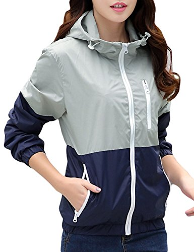 Lasher Women's Sun Protect Outdoor Jacket Quick Dry Windproof Waterproof Coat,White Grey,US X-Small/Asian S