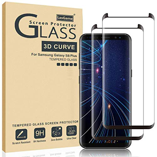 LasGame Glass Screen Protector for Samsung Galaxy S8 Plus,[2 Pack] 3D Curved Tempered Glass,...