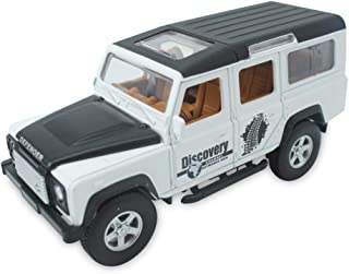 CLEVER BOYS Land Rover Defender 1:32 Scale Diecast Vehicle Model Cars Pull Back Car Sound Light Gifts Collection for Kids Adults. (White)