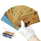 Papel de lija, variedades húmedas y secas, 108 unidades de 60 a 3000 gránulos, 7,6 x 14 cm, hojas de papel abrasivo con caja de regalo, para madera y acabado de muebles.