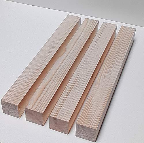 4 Kanthölzer Tischfüße 60x60mm stark. Bastellholz Drechselholz Fichte/Tanne massiv. Sondermaße. (60x60x200mm lang.)