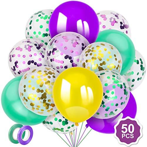 Qpout Juego de 50 globos de Mardi Gras de 30 cm, globos de látex y confeti para carnaval, sirena, cumpleaños, boda, fiesta, decoración