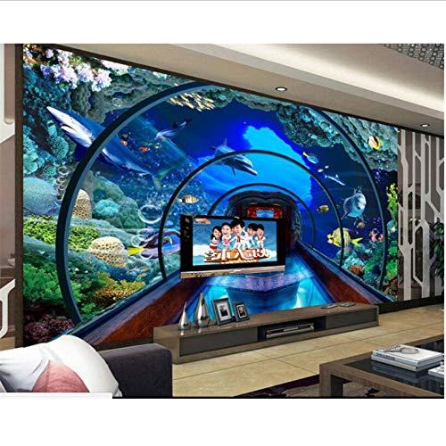 Dalxsh 3D-behang, 3D-onderwaterwereld, aquarium, 3D-stereo, wandschilderingen, tv, achtergrond, woonkamer, wandbehang voor muren, 3D 120 x 100 cm.