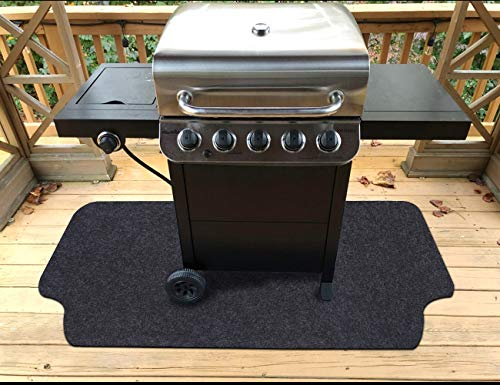 """Gas Grill Mat,Premium BBQ Mat and Grill Protective Mat—Protects Decks and Patios from grease splashes,Absorbent material-Contains Grill Splatter,Anti-Slip and Waterproof Backing,Washable( 36""""×48"""") Floor Grill Mats Pads"""