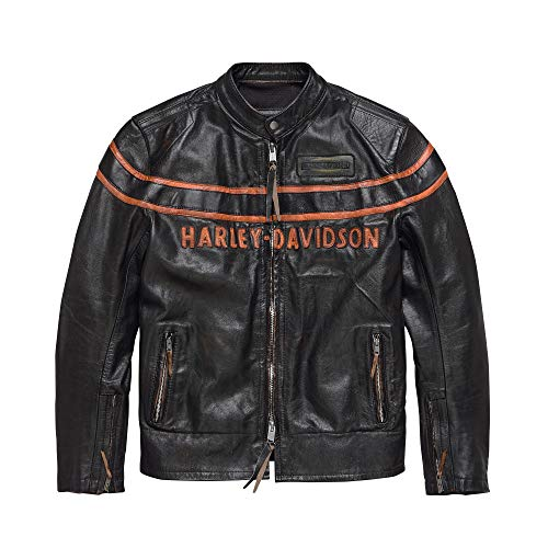 Harley-Davidson Men's Double Ton Slim Fit Leather Jacket, Black (X-Large)