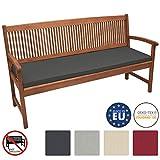 Beautissu Outdoor Bench Cushion Base BK Comfortable Seat Cushion 150 x 48 x 5 cm 4 Seater <span class='highlight'>Garden</span> Bench Pad Graphite Grey