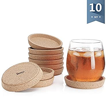 Sweese 3405 Cork Coasters - 4 Inches Perfect for Most Kind of Mugs - Protect Your Table from a Liquid Ring - Set of 10
