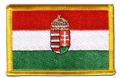 Aufnäher Patch Flagge Ungarn mit Wappen - 8 x 6 cm