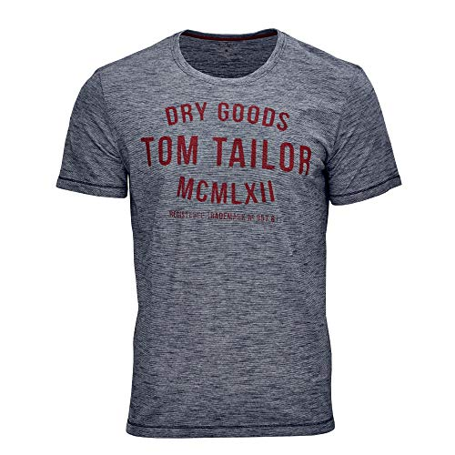 TOM TAILOR Herren Casual Logo T-Shirt, Blau (Navy White Yarndye S 19493), XX-Large