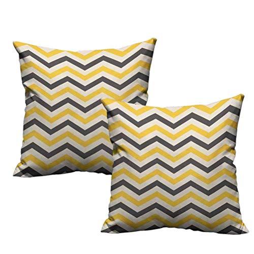Funda de Almohada de Viaje Chevron Amarillo Zigzags Grandes en diseño Retro Azulejo Horizontal geométrico Funda de Almohada Cuadrada Creativa 2 Piezas Gris carbón Amarillo Crema