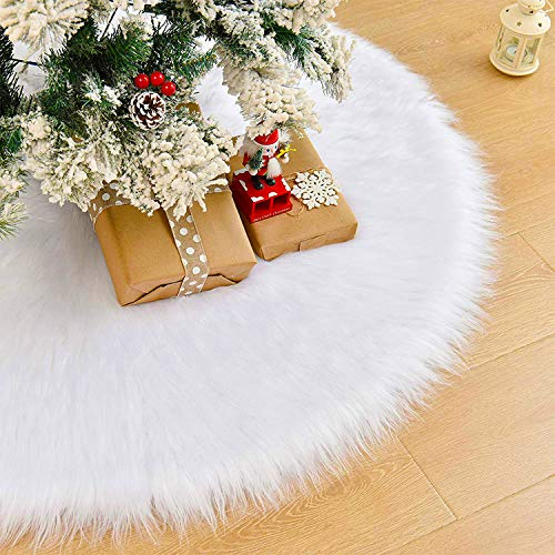 Zodight White Plush Christmas Tree Skirts, Luxury Faux Fur Xmas Tree Base Cover Mat with Heart Pattern for Xmas New Year Home Party Decorations (31 inch/79 cm)