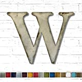 Metal Letter W - 8', 12', 16', 22', 30' or 35' inch tall - Handmade metal wall art - Choose your Patina Color, Size and Letter or Number - Hanging Letters for Living Room, Bedroom or Nursery