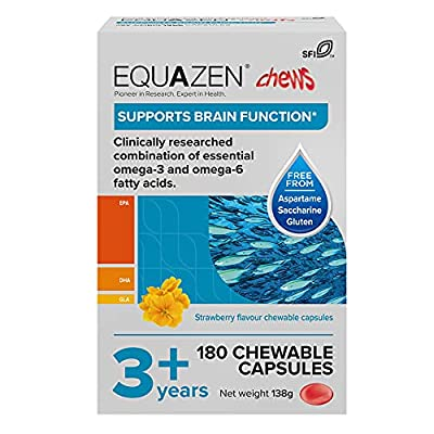 Equazen Childrens Chews | Omega 3 and Omega 6 Supplement | 180 Strawberry Flavoured Chews | Clinically Researched Blend of DHA, EPA and GLA | Suitable for Children From 3 Years to Adult