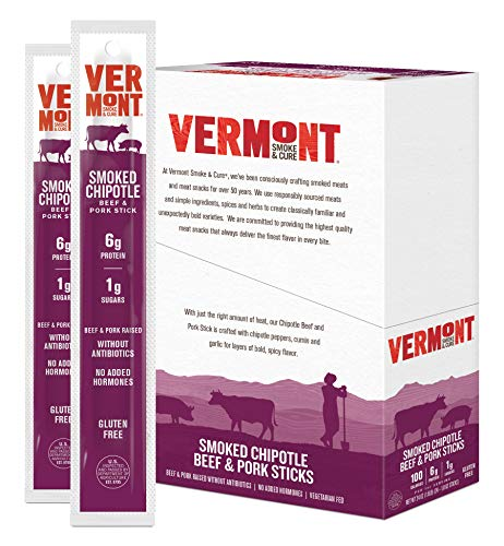 Vermont Smoke and Cure Meat Sticks - Antibiotic Free Beef & Pork Sticks - Gluten-Free Snack - Paleo and Keto Friendly - Nitrate Free - Chipotle - 1oz Stick - 24 Count