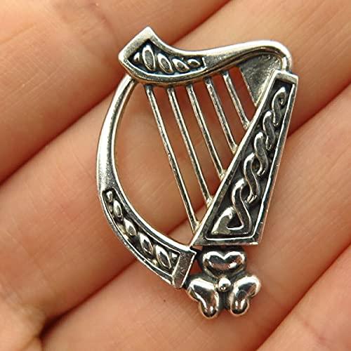 925 Sterling Silver Peter Stone Celtic Harp Design Pendant TF-14222