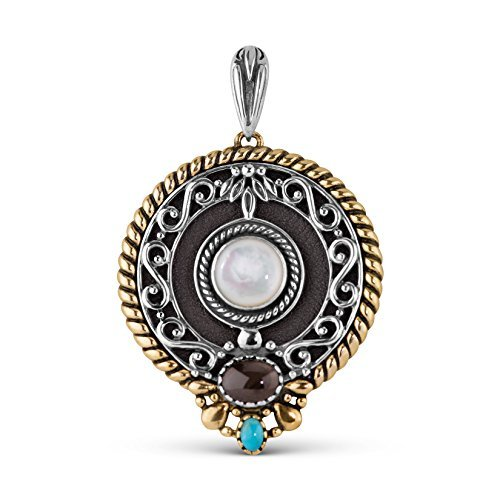 American West Sterling Silver Mixed Metal Mother of Pearl and Leather Pendant Enhancer