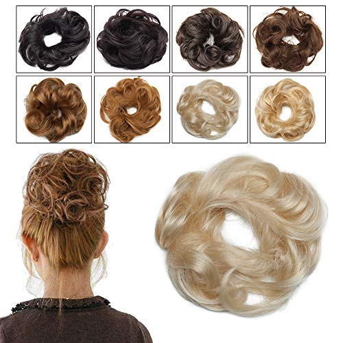 Elailite Chignon Capelli Veri Elastico Extension 100% Remy Human Hair Ricci Fermacoda senza Clip Hair Bun Finto Scrunchies Toupet 23g #60 Biondo Platino