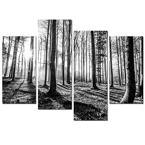 sechars - Black and White Forest Canvas Wall Art 4 Pieces Forest Sunset Canvas Prints for Home Wall Decor,Stretched and Framed Tree Woods Artwork Living Room Office Hotel Decoration