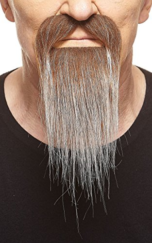 Mustaches Self Adhesive, Novelty, Ducktail Fake Beard, False Facial Hair, Costume Accessory for Adults, Brown with Gray Color