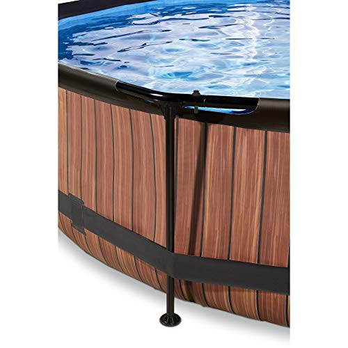 EXIT Wood Pool ø360x76cm mit Filterpumpe - braun